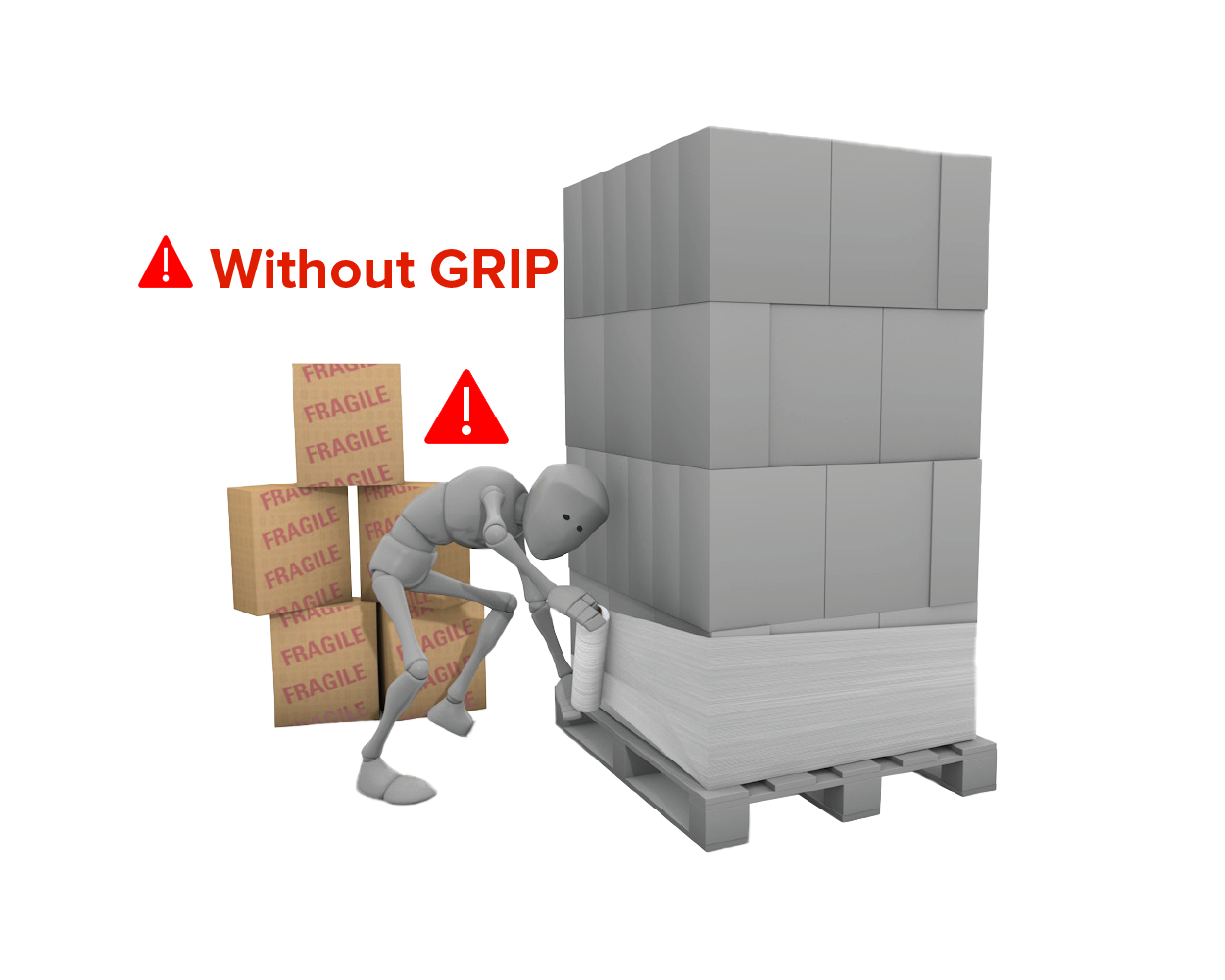 Standard pallet wrap without GRIP