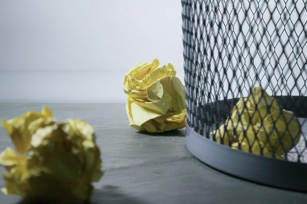 Office rubbish in bin